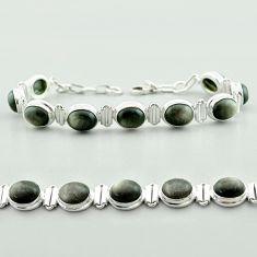 925 silver 37.55cts tennis natural golden sheen black obsidian bracelet t55624