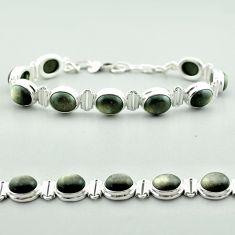 925 silver 37.22cts tennis natural golden sheen black obsidian bracelet t55627