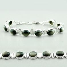 925 silver 37.49cts tennis natural golden sheen black obsidian bracelet t55630