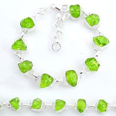 925 silver 37.47cts tennis natural green peridot raw fancy bracelet t6655