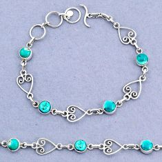 925 silver 9.93cts tennis natural green turquoise tibetan round bracelet t8355