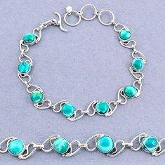 925 silver 17.33cts tennis natural green turquoise tibetan round bracelet t8432