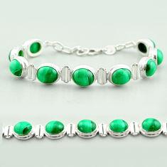 925 silver 41.87cts tennis natural malachite (pilot's stone) bracelet t55589