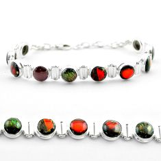 925 silver 29.81cts tennis natural multi color ammolite bracelet jewelry t45335