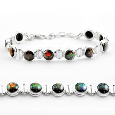 925 silver 30.86cts tennis natural multi color ammolite round bracelet t45327