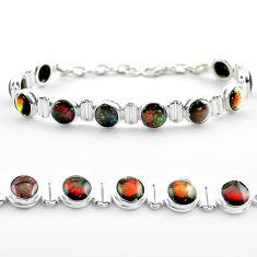 925 silver 31.29cts tennis natural multi color ammolite round bracelet t45330