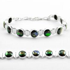 925 silver 31.31cts tennis natural multi color ammolite round bracelet t45332