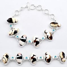 925 silver 57.57cts tennis natural peanut petrified wood fossil bracelet t37644
