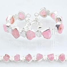 925 silver 40.17cts tennis natural pink rose quartz raw fancy bracelet t6679
