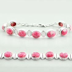 925 silver tennis natural pink thulite (unionite, pink zoisite) bracelet t55597