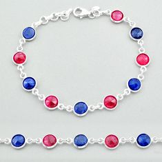 925 silver 19.45cts tennis natural red ruby blue sapphire round bracelet t40331
