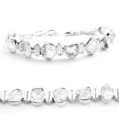 925 silver 43.32cts tennis natural white herkimer diamond fancy bracelet t50463