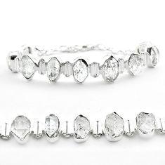 925 silver 45.96cts tennis natural white herkimer diamond fancy bracelet t50466