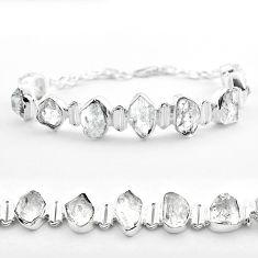 925 silver 45.52cts tennis natural white herkimer diamond fancy bracelet t50469