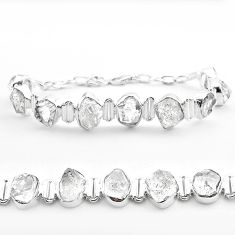 925 silver 43.32cts tennis natural white herkimer diamond fancy bracelet t50474