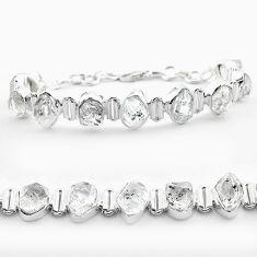 925 silver 42.37cts tennis natural white herkimer diamond fancy bracelet t50478