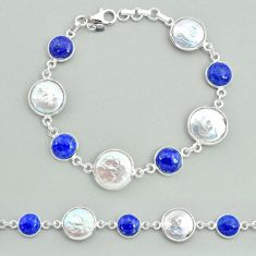 925 silver 30.49cts tennis natural white pearl blue lapis lazuli bracelet t37300