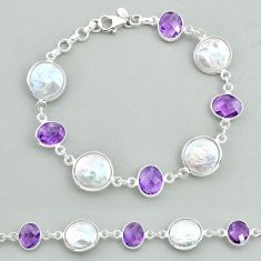 925 silver 28.06cts tennis natural white pearl purple amethyst bracelet t37316