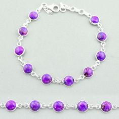 925 silver 17.26cts tennis purple copper turquoise round shape bracelet t40283