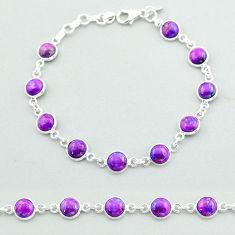 925 silver 17.86cts tennis purple copper turquoise round shape bracelet t40289