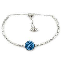925 sterling silver adjustable blue turquoise topaz bracelet jewelry c17022