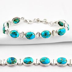 925 sterling silver 36.26cts blue copper turquoise oval tennis bracelet r38883