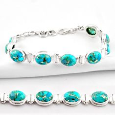 925 sterling silver 37.04cts blue copper turquoise oval tennis bracelet r38892