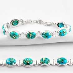 925 sterling silver 36.96cts blue copper turquoise oval tennis bracelet r38900