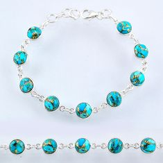 925 sterling silver 22.51cts blue copper turquoise round tennis bracelet r55113
