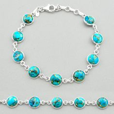 925 sterling silver 19.52cts blue copper turquoise round tennis bracelet t26424