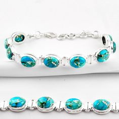925 sterling silver 36.96cts blue copper turquoise tennis bracelet r38896