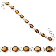 925 sterling silver 36.96cts brown smoky topaz oval tennis bracelet r84188