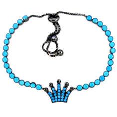 925 sterling silver fine blue turquoise adjustable tennis bracelet c17011