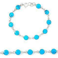 925 sterling silver fine blue turquoise enamel tennis bracelet a46053 c13866