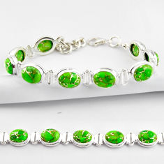 925 sterling silver 35.32cts green copper turquoise oval tennis bracelet r38840
