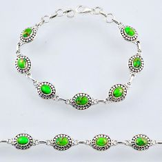 925 sterling silver 9.65cts green copper turquoise oval tennis bracelet r54934