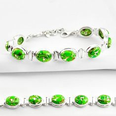 925 sterling silver 36.12cts green copper turquoise tennis bracelet r38824