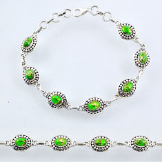 925 sterling silver 10.47cts green copper turquoise tennis bracelet r54933