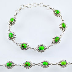 925 sterling silver 9.78cts green copper turquoise tennis bracelet r54953