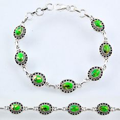 925 sterling silver 9.80cts green copper turquoise tennis bracelet r54975