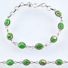 925 sterling silver 9.94cts green copper turquoise tennis bracelet r55045