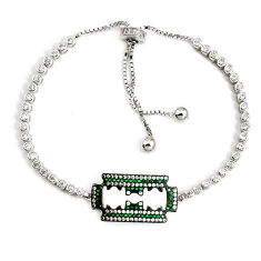 925 sterling silver 8.20cts green emerald (lab) topaz necklace jewelry c25957