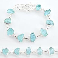 925 sterling silver 34.96cts natural aqua aquamarine raw tennis bracelet t6738