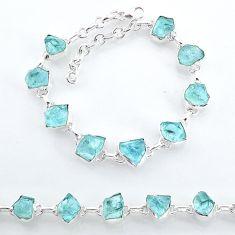 925 sterling silver 34.39cts natural aqua aquamarine raw tennis bracelet t7770