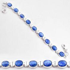 925 sterling silver 35.51cts natural blue kyanite oval tennis bracelet t2569