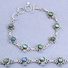 925 sterling silver 15.42cts natural blue labradorite bracelet jewelry t8474