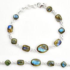 925 sterling silver 27.05cts natural blue labradorite tennis bracelet r36649