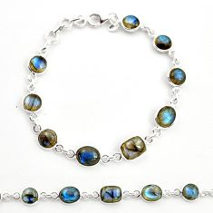 925 sterling silver 18.17cts natural blue labradorite tennis bracelet r36657