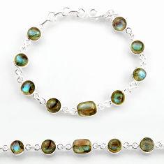 925 sterling silver 21.18cts natural blue labradorite tennis bracelet r38240