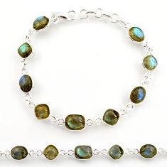 925 sterling silver 22.55cts natural blue labradorite tennis bracelet r38720